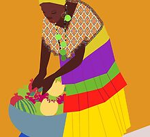 woman and a bowl of fruit  by Design4uStudio