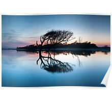 South Carolina Charleston Folly Beach Lone Tree Tidal Pool Sunset Poster