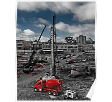Red Cement Truck Poster