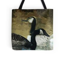 Canada Geese on the Water Abstract Impressionism Tote Bag