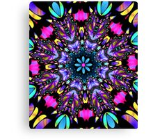 Colourful Fractal stained glass design Canvas Print