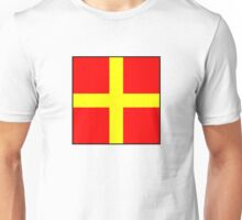 International maritime signal flags sea alphabet collection letter r Unisex T-Shirt