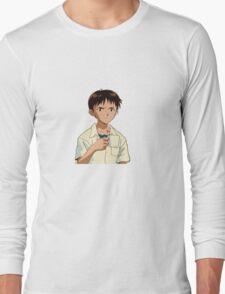 Shinji with a Coffee Mug Long Sleeve T-Shirt