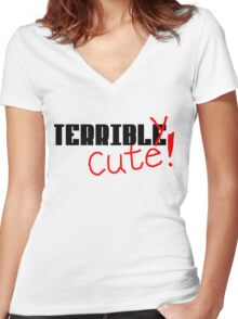 Terribly Cute - Black/Red Women's Fitted V-Neck T-Shirt
