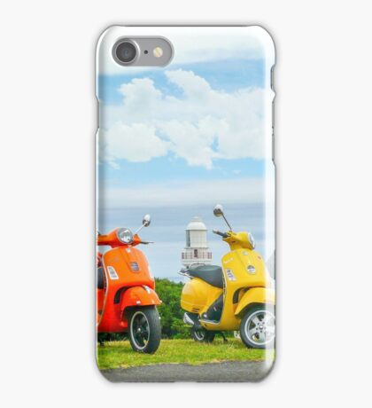 Vespas At The Lighthouse iPhone Case/Skin