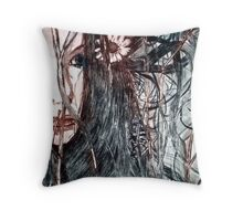 Wild Girl - Drypoint Etching Print Throw Pillow