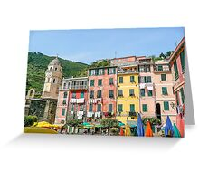 Old Umbrellas In The Square In Vernazza Greeting Card