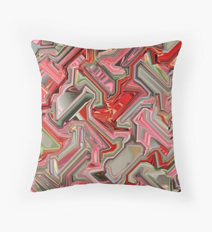 Red and Pink Cube  Throw Pillow
