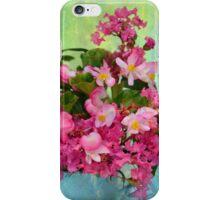 Vintage Pink Flowers in Aqua Tin Bucket iPhone Case/Skin