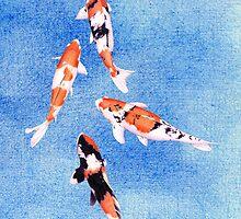 Floating Koi Blue by Mariana Musa