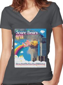 Scare Bears 9/11 Women's Fitted V-Neck T-Shirt
