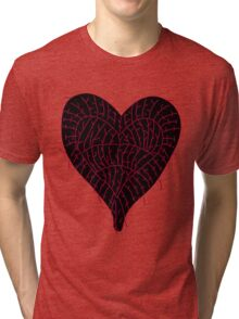 Black Ragged Heart Tri-blend T-Shirt