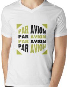 Par Avion Mail Art Mens V-Neck T-Shirt