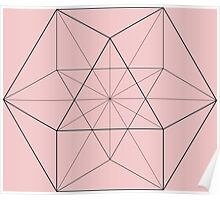 Cube Octahedron Pink Poster