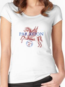Winged Horse Par Avion Series Women's Fitted Scoop T-Shirt