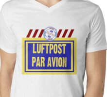 Air Mail Par Avion Series Mens V-Neck T-Shirt