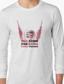Heart Wings Paris Par Avion Series Long Sleeve T-Shirt