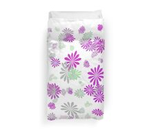 lovely pink, grey, green graphic flowers. Duvet Cover