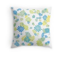 lovely blue, grey, green, yellow  graphic flowers. Throw Pillow