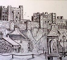 Bamburgh Castle from the village by GEORGE SANDERSON