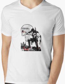 Punisher Gridwork & logo Mens V-Neck T-Shirt