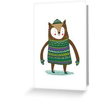Retro Winter Bear Greeting Card