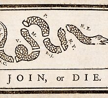 Benjamin Franklin's Join, or Die cartoon by Adam Asar
