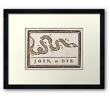 Benjamin Franklin's Join, or Die cartoon Framed Print