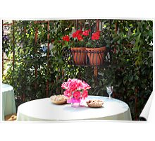 Outdoor Dining with Flowers Poster