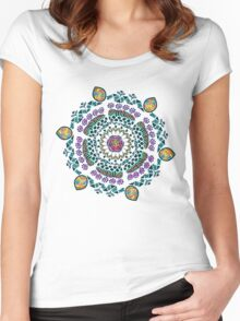 Ornamental Vibrant Floral Mandala Women's Fitted Scoop T-Shirt