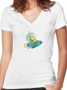 Cute Alien In A Spaceship Women's Fitted V-Neck T-Shirt