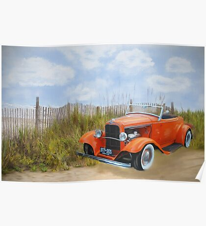 Historic Car on the Beach Poster