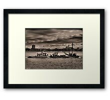 Tugboat And Ominous Sky Framed Print