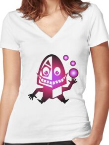 Crazy Creature with balls Women's Fitted V-Neck T-Shirt