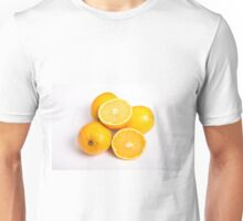 Whole and Half Oranges on White Unisex T-Shirt