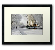 Boats on the Frozen Burton Canal Framed Print