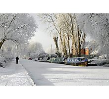 Boats on the Frozen Burton Canal Photographic Print