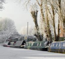Boats on the Frozen Burton Canal Sticker