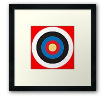 Bulls Eye, Right on Target, Roundel, Archery on Red Framed Print