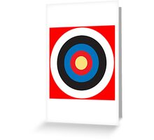 Bulls Eye, Right on Target, Roundel, Archery on Red Greeting Card