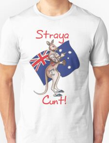 Straya Cunt , one fingered salute tattooed roo Australia Design T-Shirt