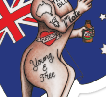 Straya Cunt , one fingered salute tattooed roo Australia Design Sticker
