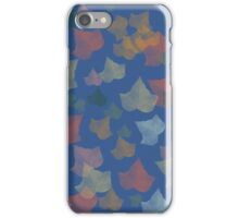 colorful red, green, yellow  fall leaves in blue. iPhone Case/Skin