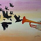 Trumpet & Birds by Jack G Brauer