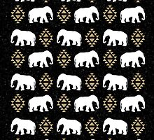 Elephant pattern in gold black and white gender neutral design modern tribal aztec triangles by charlottewinter