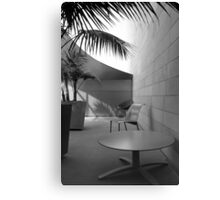 patio table and chairs, Disney Concert Hall, Los Angeles Canvas Print