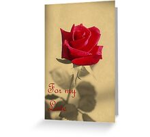 For My Love Vintage Valentine Greeting With Red Rose Greeting Card