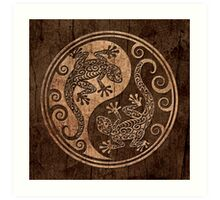 Rough Wood Grain Effect Yin Yang Geckos Art Print