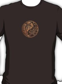 Rough Wood Grain Effect Yin Yang Geckos T-Shirt