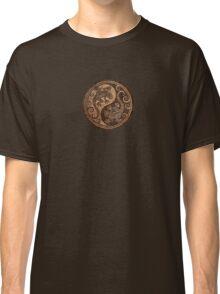 Rough Wood Grain Effect Yin Yang Geckos Classic T-Shirt